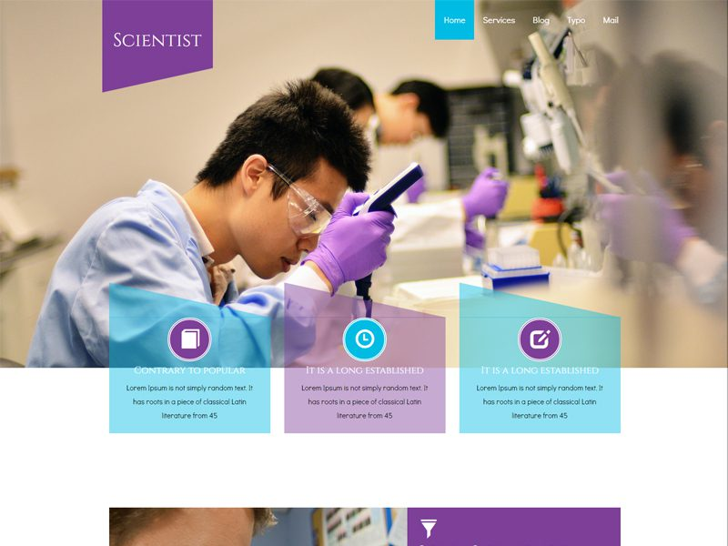 Scientist Free Responsive Medical Bootstrap Template