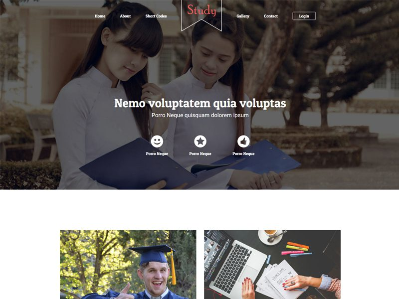 Study Free Bootstrap Template For School