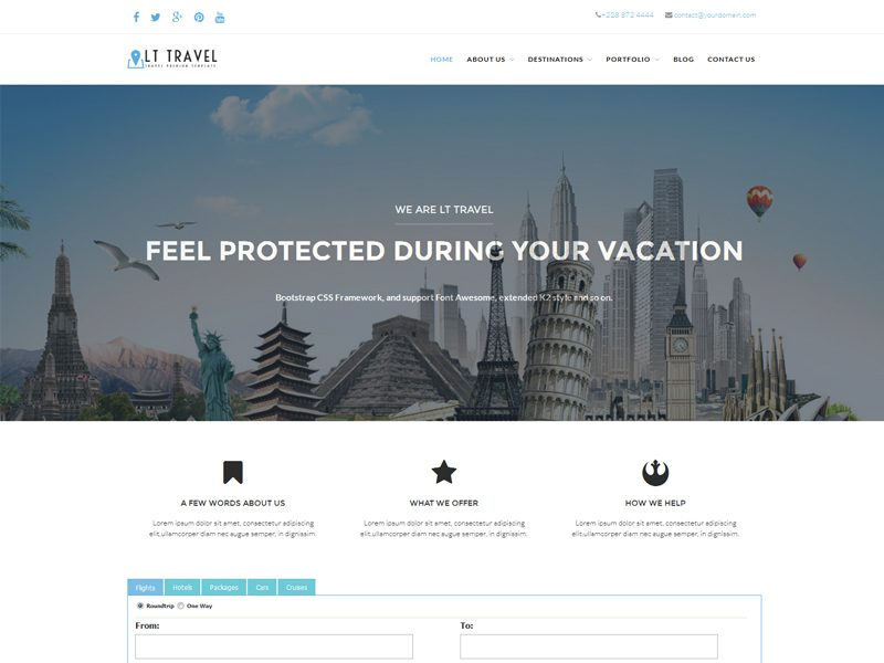 LT Travel Free Responsive Hotel / Travel WordPress theme
