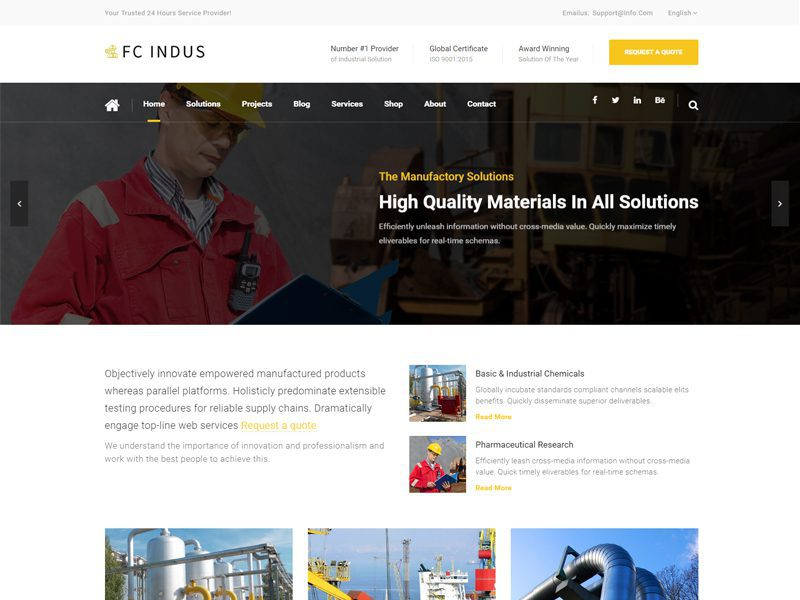 FC Indus Free Industrial Website Template - Freemium Download