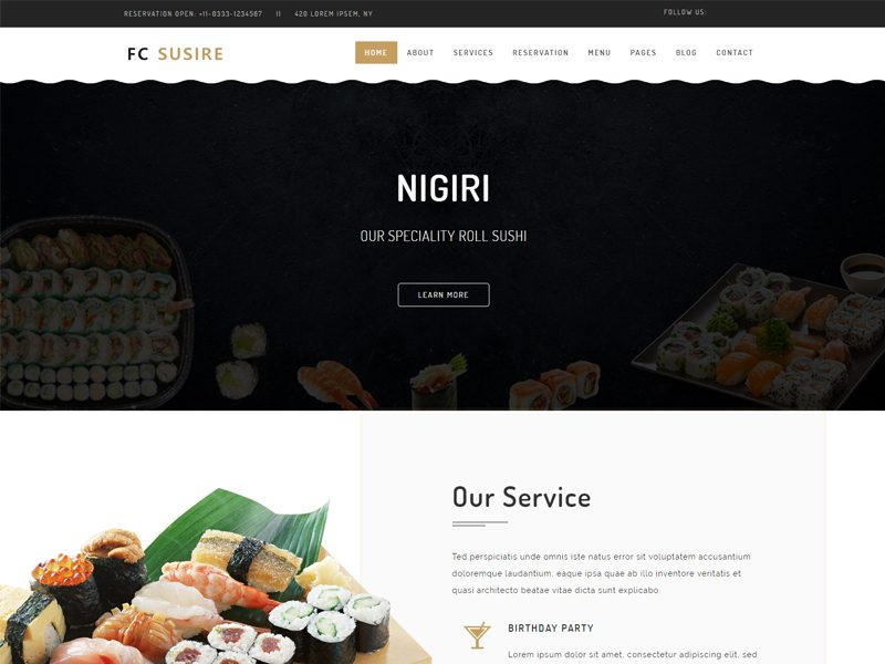 fc susire free restaurant website template freemium download