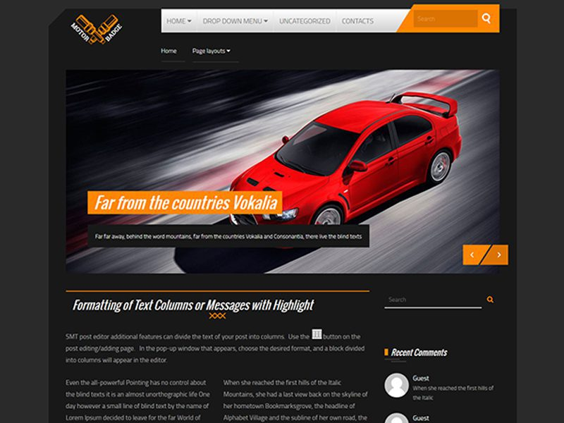 Free Car WordPress Theme