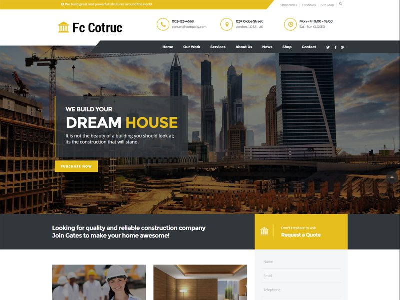 Free Construction Company Website Template