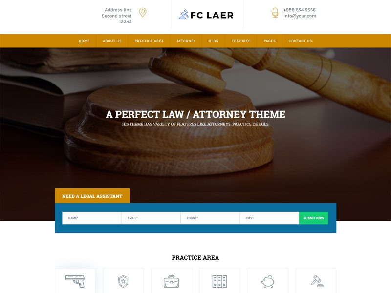 FC Laer Free Lawyer Website Template