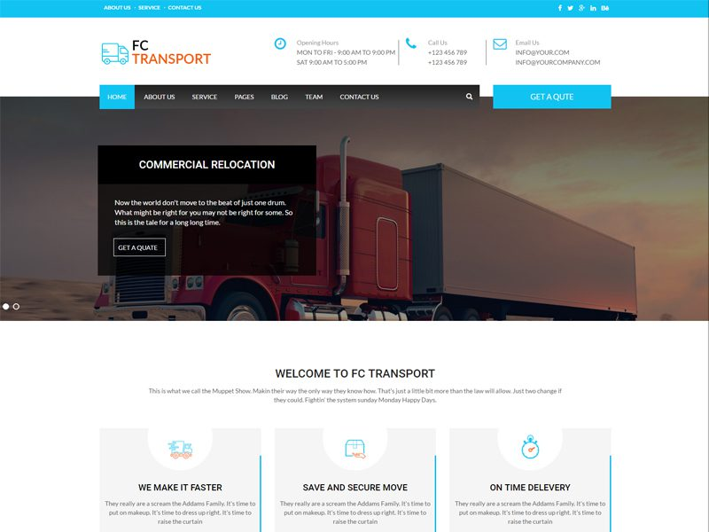 Free Transport Website Template