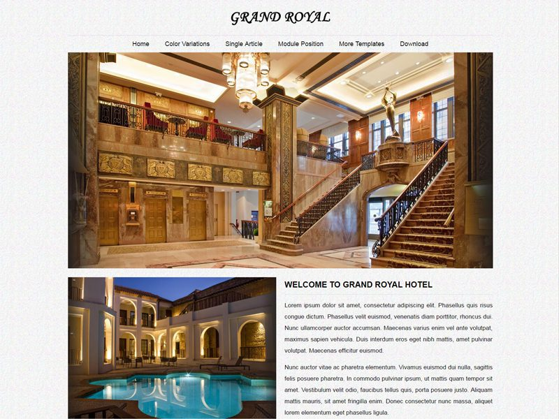 JSR Grand Royal Free Joomla Hotel Template