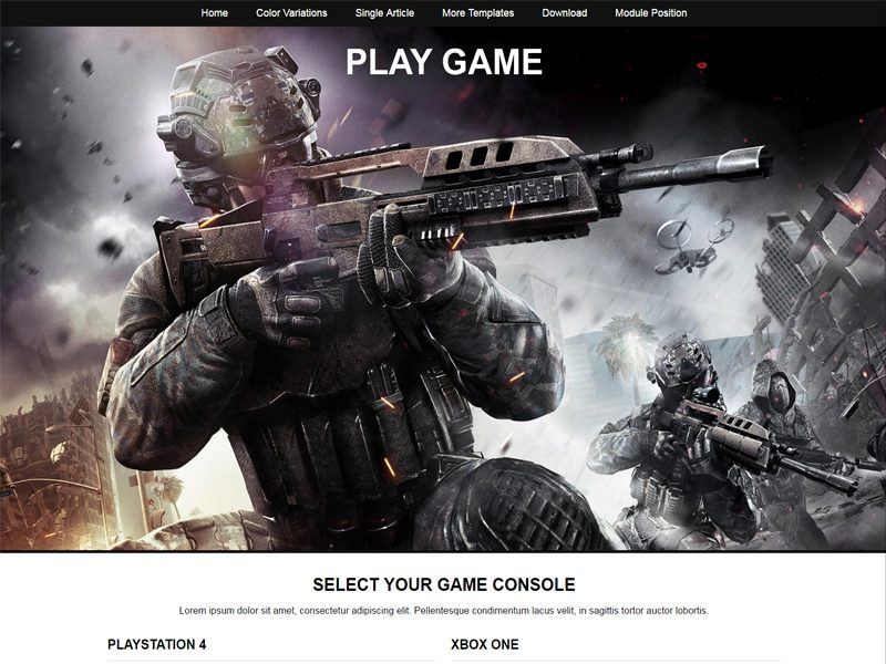 JSR Play Game Free Joomla Game Template