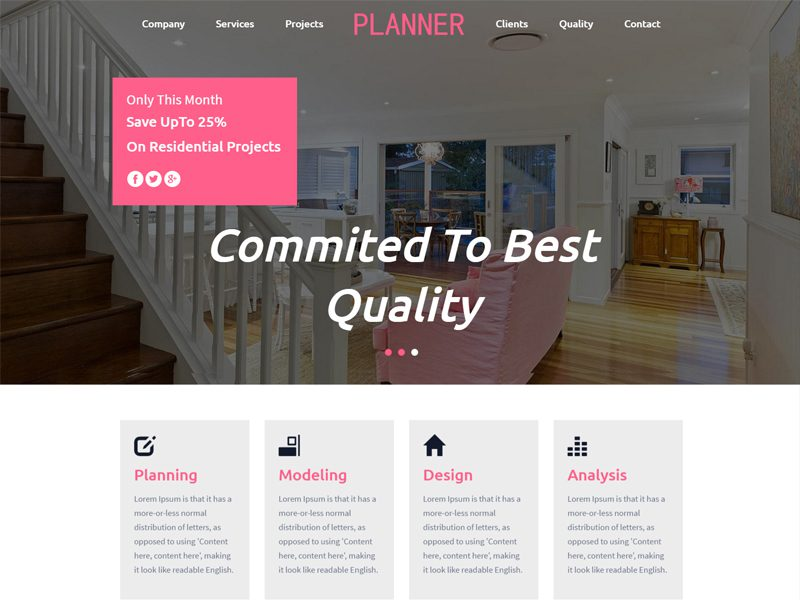 Planner Interior Website Template