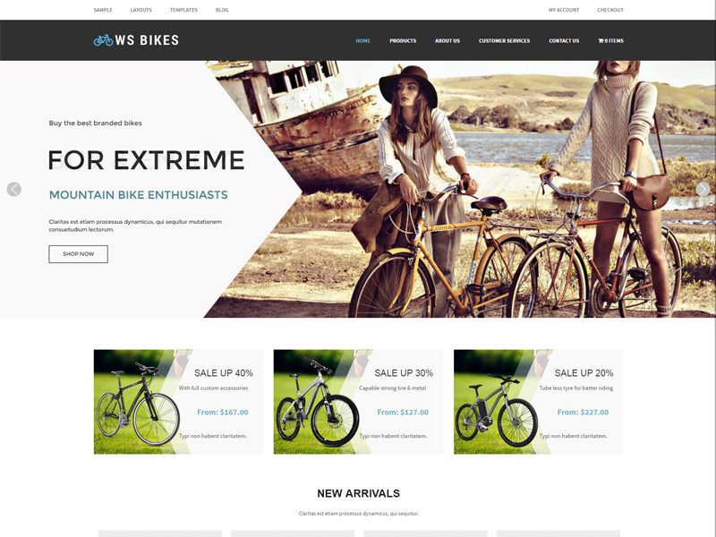 Free Responsive Bike Shop Woocommerce WordPress Theme