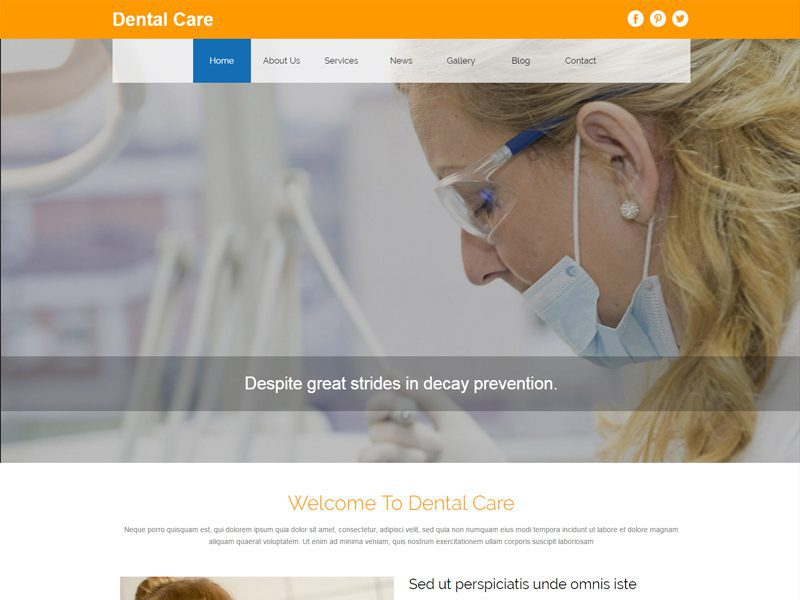 Dental Care Bootstrap Medical Template