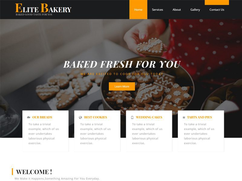 Elite Bakery Free Bootstrap Hotel Template