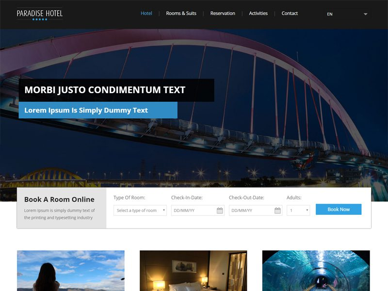Paradise Hotel Free Bootstrap Hotel Template