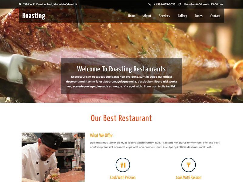 Roasting Free Restaurant Bootstrap Template