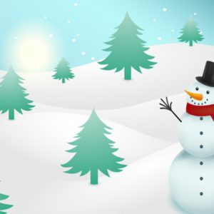 Snowman on snow Free Vector