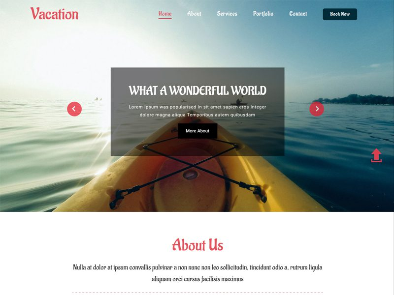 Vacation Free Bootstrap Travel Template