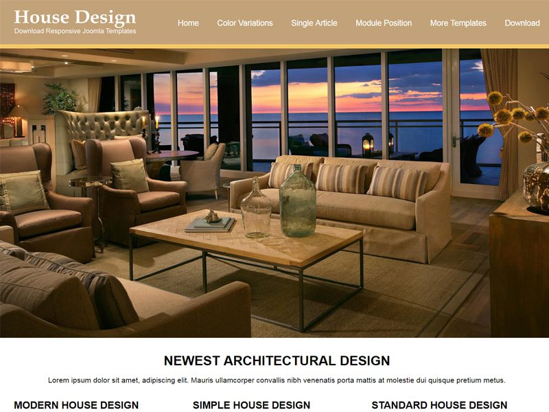 JSR House Design Free Joomla Furniture Template