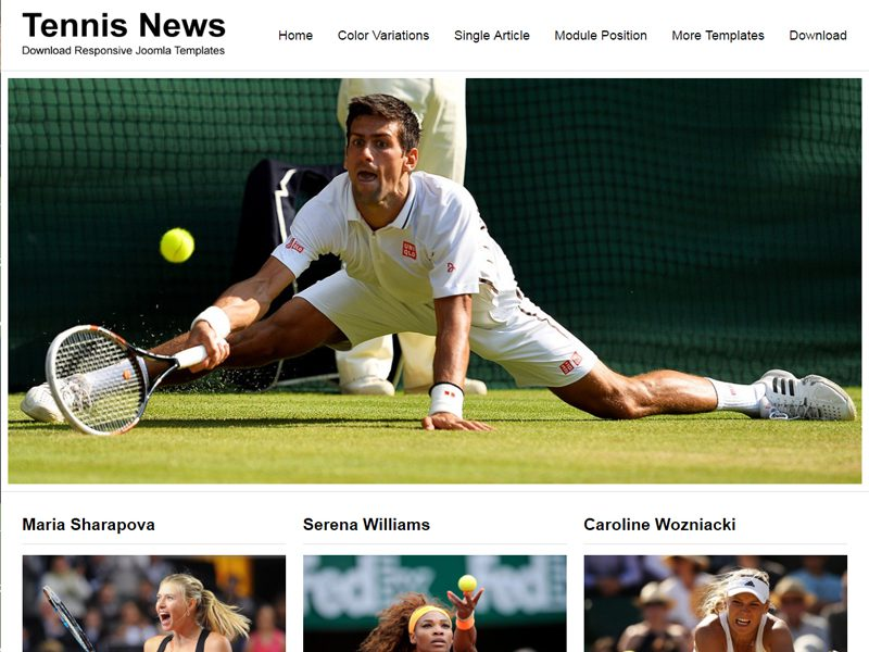 JSR Tennis News Free Joomla Tennis Template