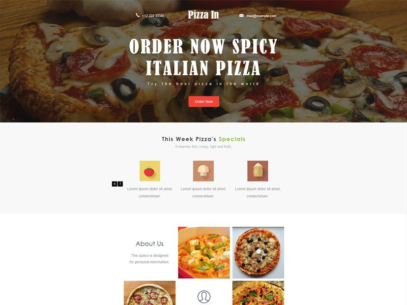 Pizza In Free Bootstrap Restaurant Template