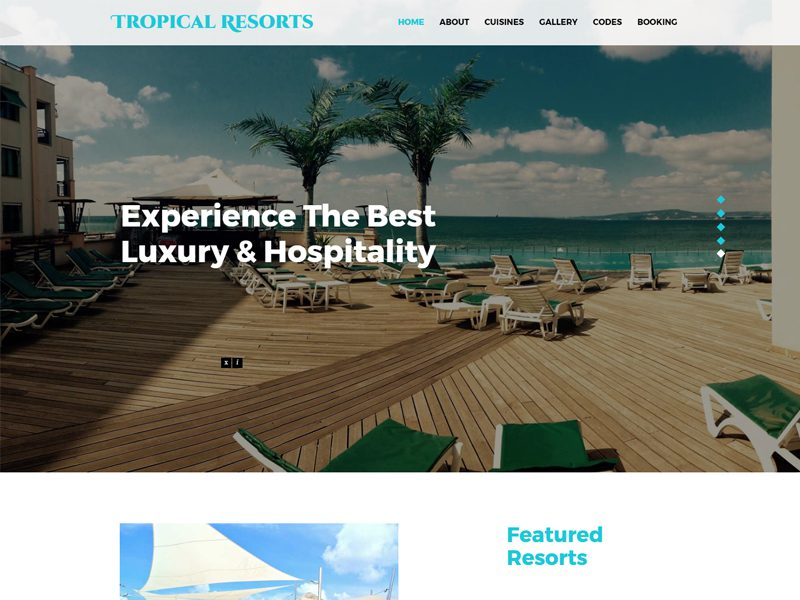 Tropical Resorts Free Bootstrap Resort Template
