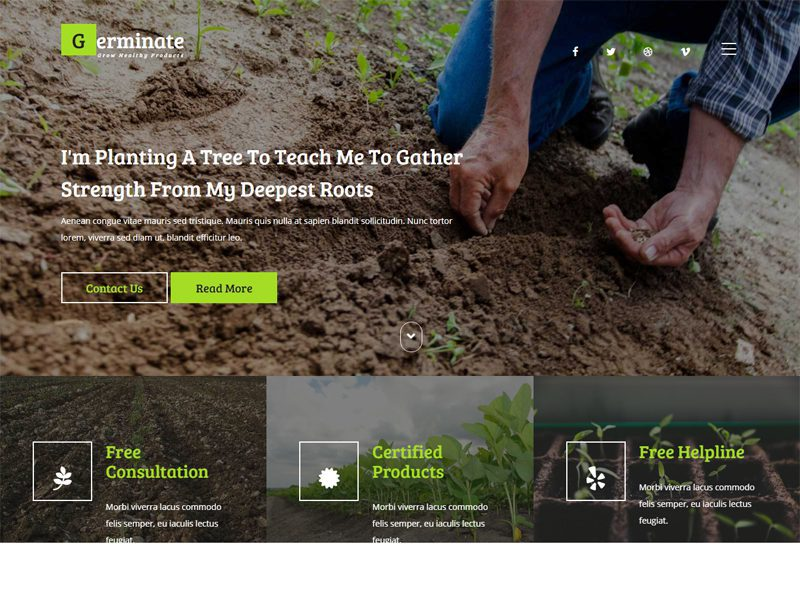 Germinate Free Bootstrap Agriculture Template