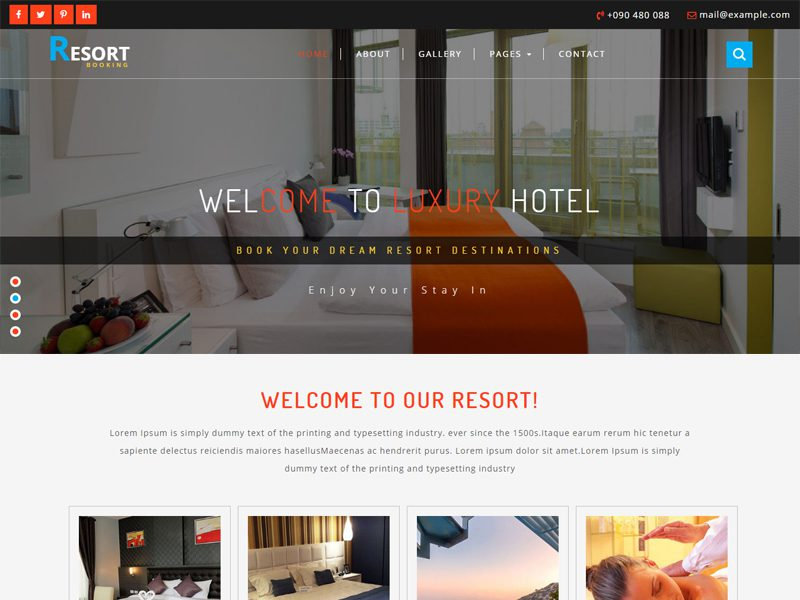 Resort Free Bootstrap Hotel Template