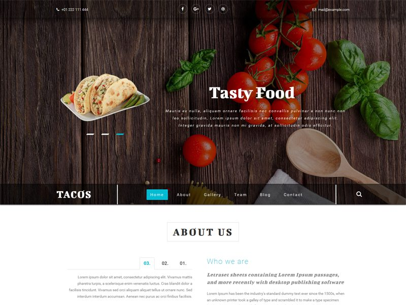 Tacos Free Restaurant Bootstrap Template