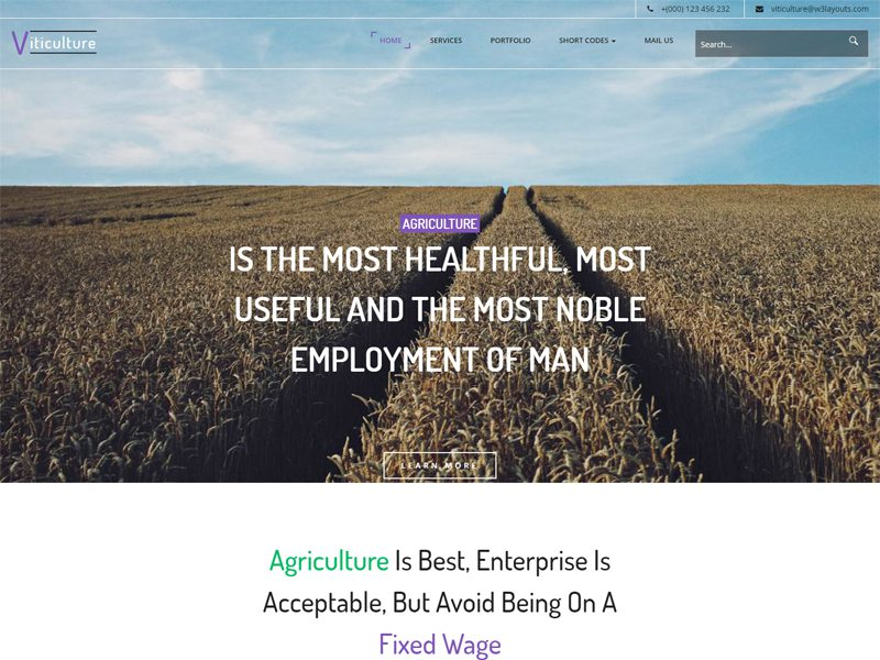 Viticulture Free Bootstrap Agriculture Template