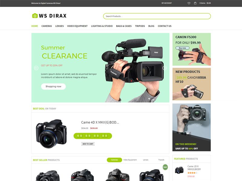 WS Dirax Free Digital Cameras WordPress Theme