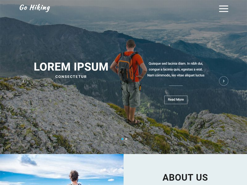 Go Hiking Free Bootstrap Travel Template