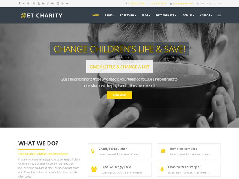 ET Charity Free Joomla Charity Template
