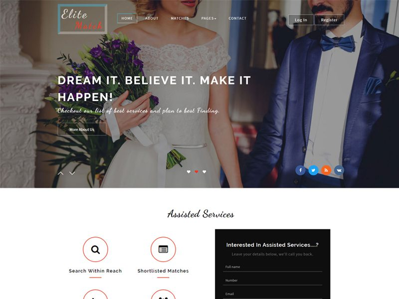 Elite Match Free Bootstrap Wedding Template