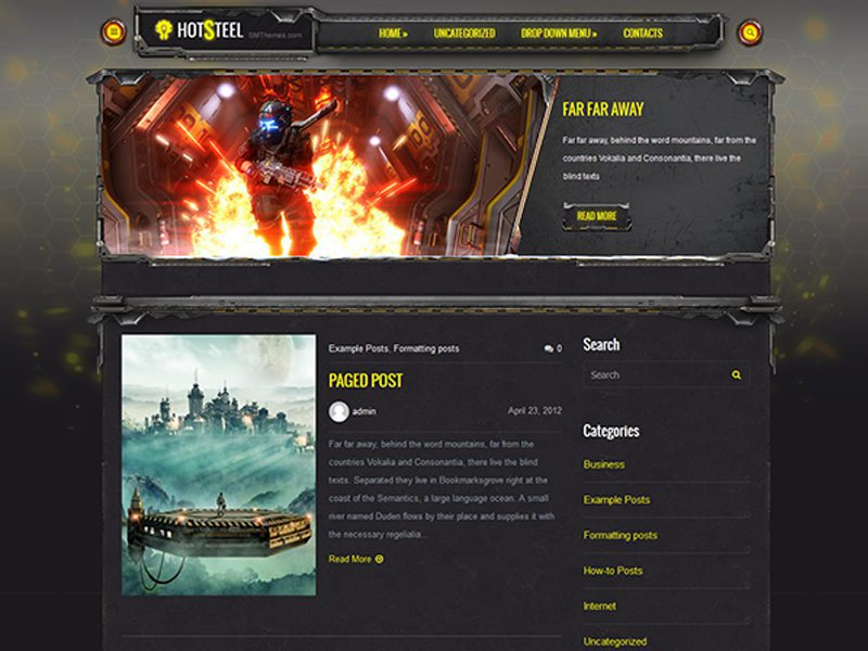HotSteel Free WordPress Game Theme
