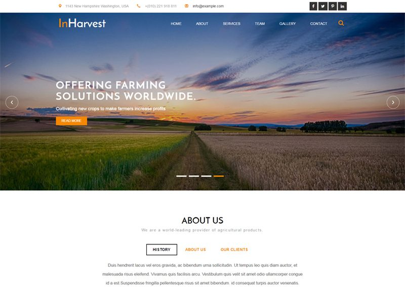 In Harvest Free Bootstrap Agriculture Template