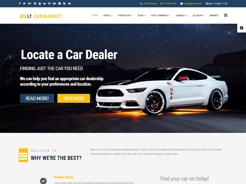 Lt Carmarket Free Joomla Car Dealer Template Freemium Download