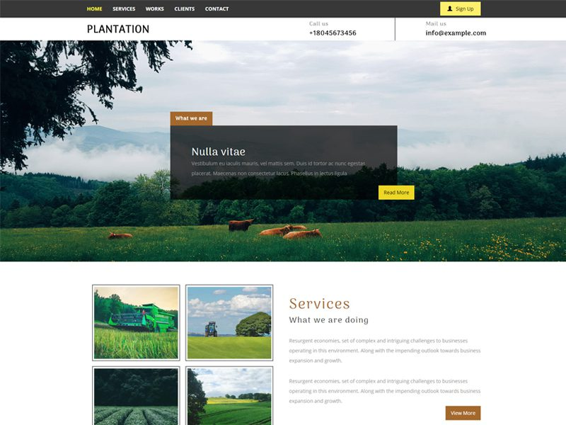 Plantation Free Bootstrap Agriculture Template