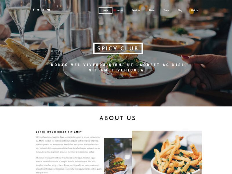 Spicy Club Free Restaurant Bootstrap Template