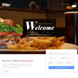 Free Restaurant Bootstrap Templa