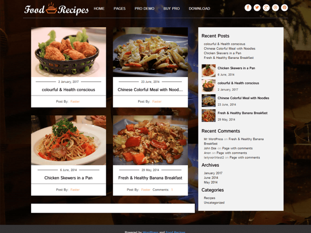 Food Recipes WordPress Restaurant Theme Free