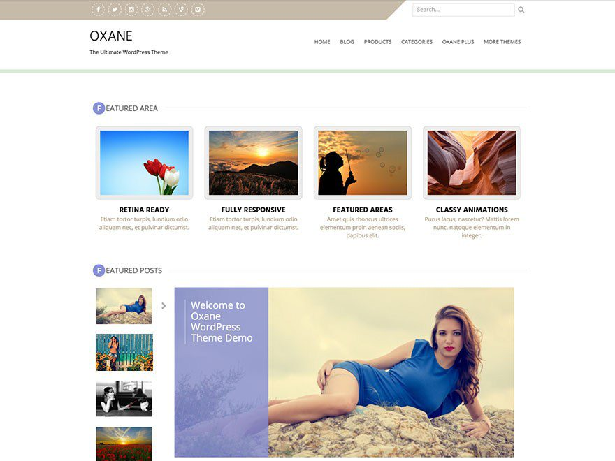 Oxane Free Creative WordPress Theme