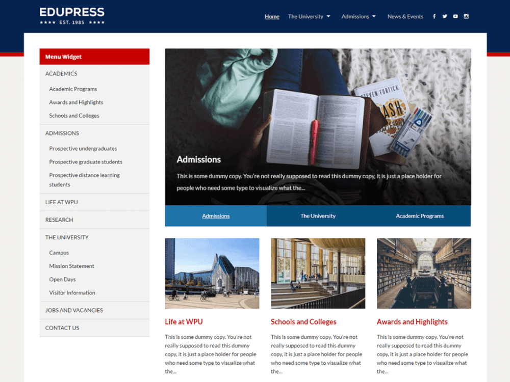 EduPress Free Education WordPress Theme
