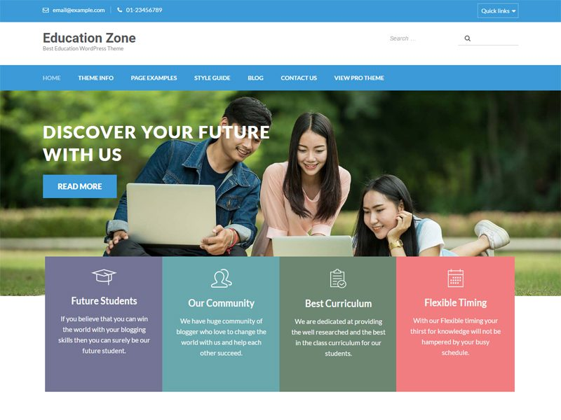 Education Zone Free Education WordPress Theme