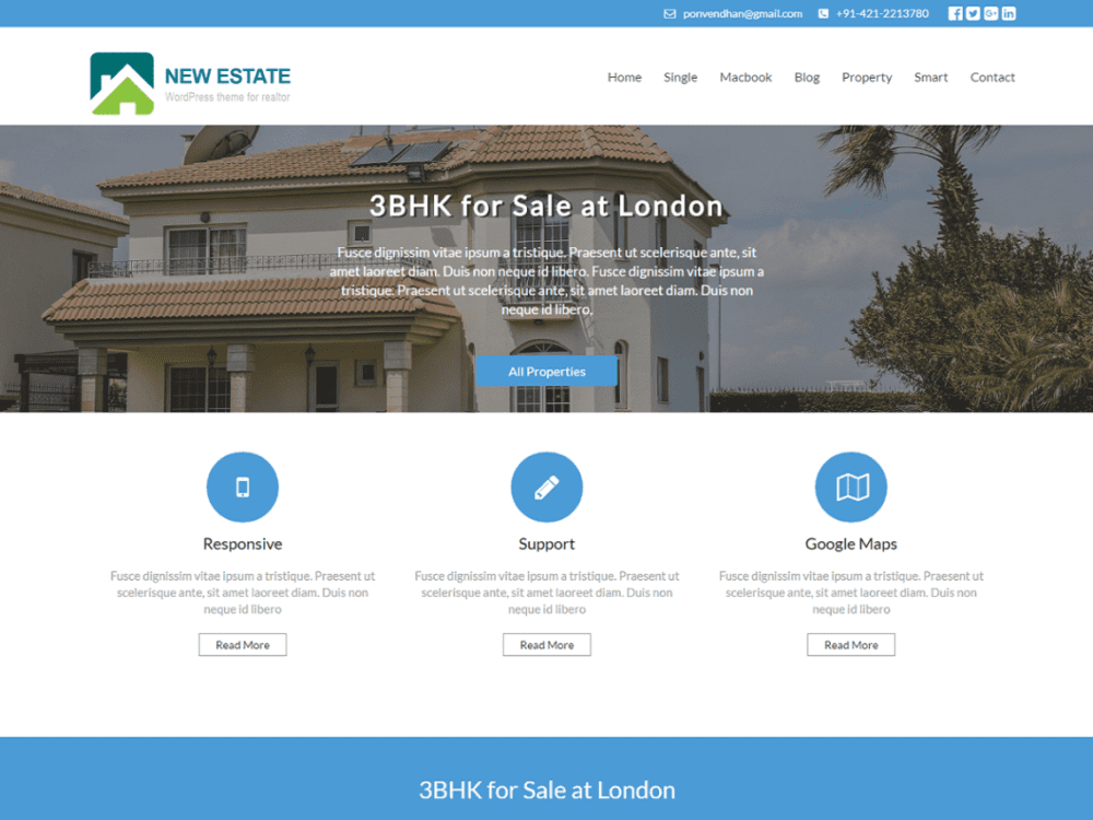 New Estate Free WordPress Real Estate Theme