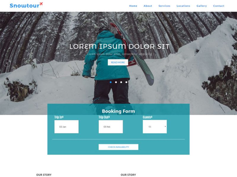 Snow Tour Free Bootstrap Travel Template