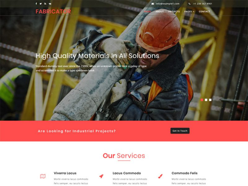 Fabricator Free Bootstrap Industrial Template