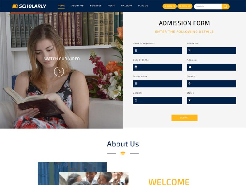 Scholarly Free Education Bootstrap Template