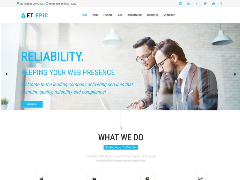 Et epic free responsive wordpress business themes accmission