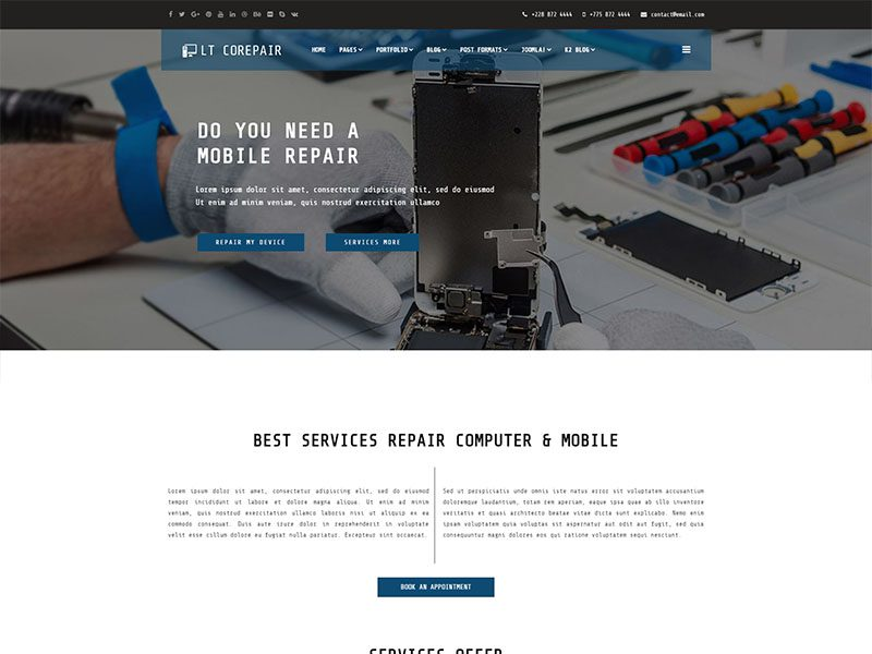 Pc repair hardware service & support joomla template on behance.