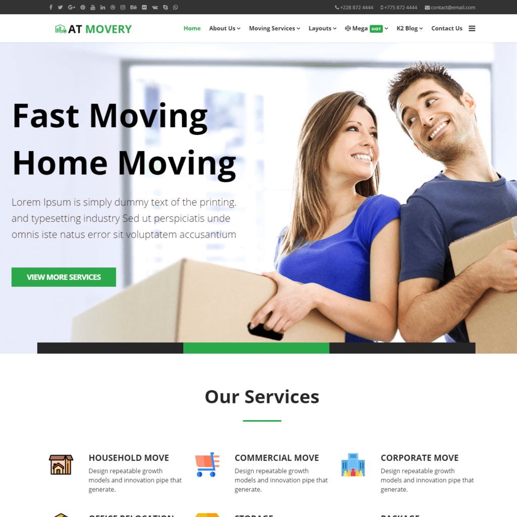 AT Movery Onepage – Free One Page Logistics company website