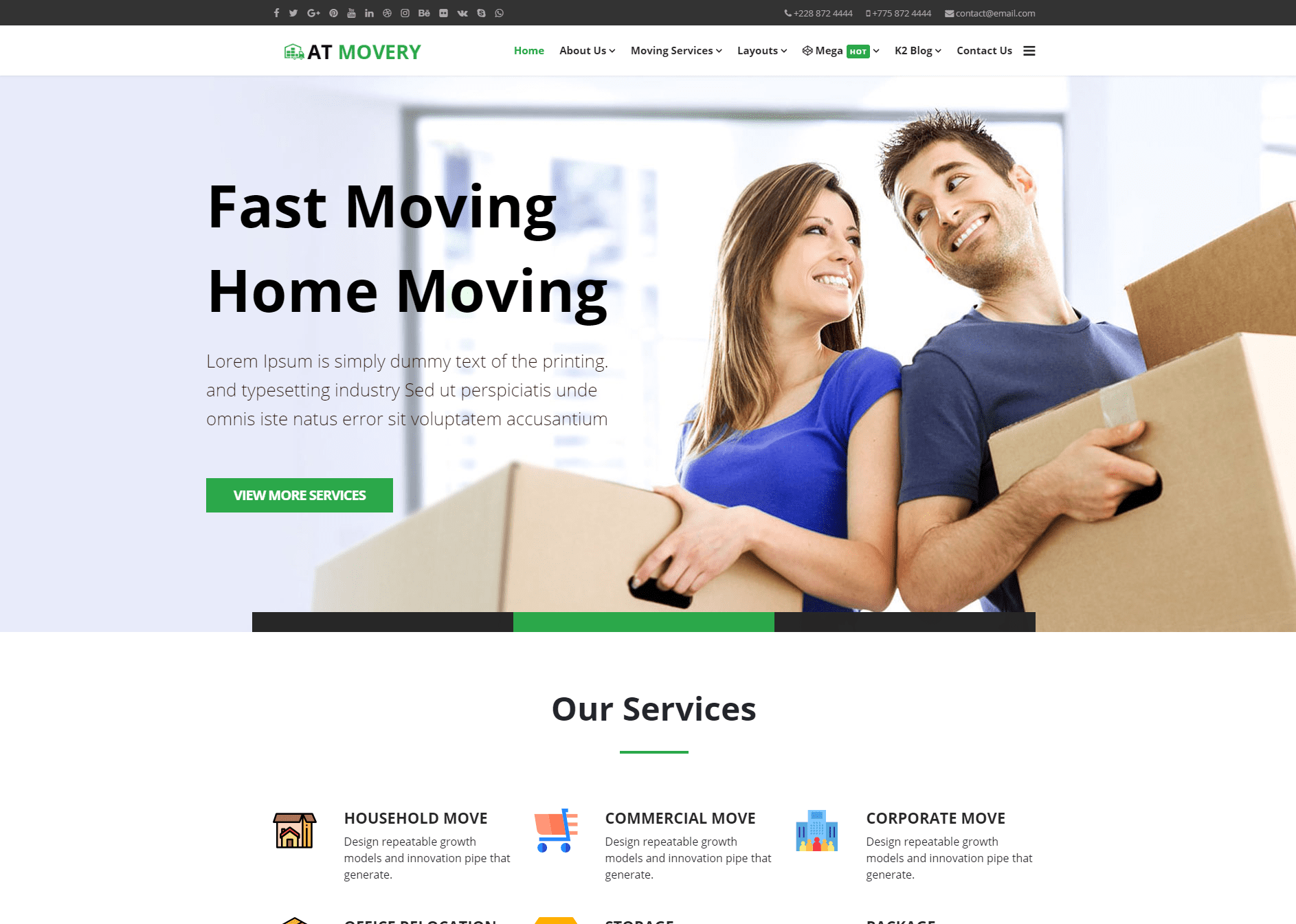At Movery Free Responsive Logistics Company Website