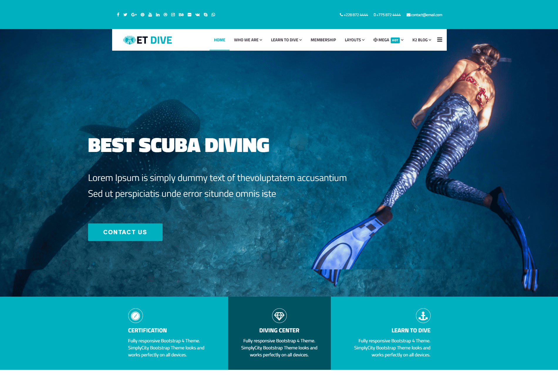et dive free responsive scuba diving website template